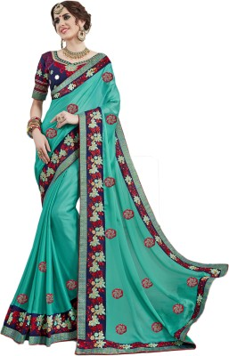 Ethnic4u Embroidered Fashion Georgette Saree(Blue) Flipkart
