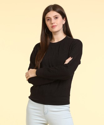 Only Self Design Round Neck Casual Women Black Sweater at flipkart