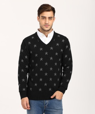 U.S. Polo Assn Self Design V-neck Casual Men Black Sweater at flipkart