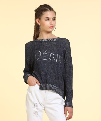 Only Self Design Round Neck Casual Women Blue Sweater at flipkart