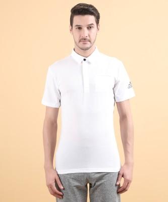 ADIDAS Solid Men Polo Neck White T-Shirt at flipkart