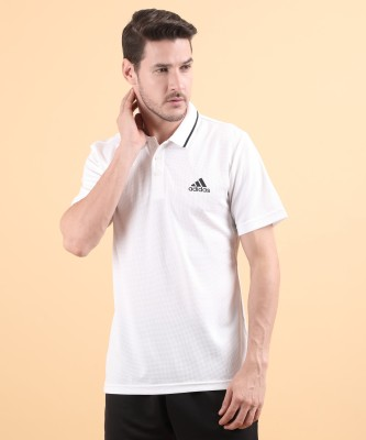 ADIDAS Solid Men Polo Neck White T-Shirt
