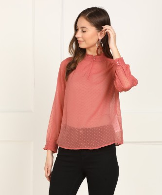 Vero Moda Casual Full Sleeve Self Design Women Pink Top