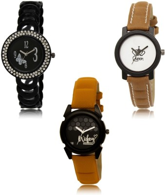 NIKOLA Classical Collegian Butterfly And Queen Black Brown Orange Color 3 Watch Combo (GL201-GL209-GL235) For Girls And Women New Unique Combo Watch  - For Girls