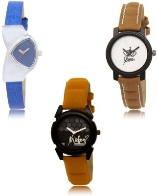 NEUTRON Treading 3D Design Flower Gold Blue Orange Color 3 Watch Combo (GL204-GL218-GL235) For Girls And Women New Unique Combo Watch  - For Women