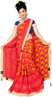 Kiran Sarees Solid, Printed, Self Design, Embroidered Bollywood Chiffon, Lace, Poly Silk Saree(Orange, Red, Multicolor) Flipkart