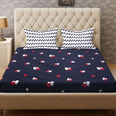 Signature 140 TC Microfiber Double Printed Bedsheet(Pack of 1, Blue)