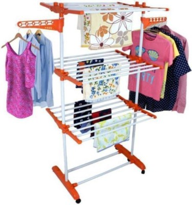 SHP SONI premium trusted single pole triply layer clothes dryer stand mild steel Carbon Steel, Plastic Floor Cloth Dryer Stand(Orange)
