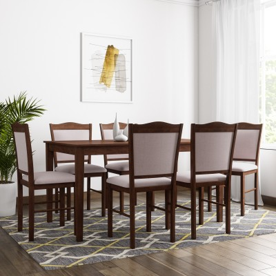 Flipkart Perfect Homes Cocos Solid Wood 6 Seater Dining Set(Finish Color - Walnut)