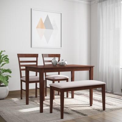 Flipkart Perfect Homes Hayman Solid Wood 4 Seater Dining Set(Finish Color - Walnut)