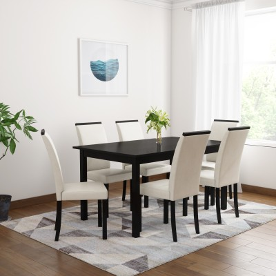Flipkart Perfect Homes Arranmore Solid Wood 6 Seater Dining Set(Finish Color - Walnut)
