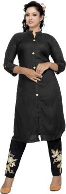 Kapadia Festive & Party Self Design Women Kurti(Black)