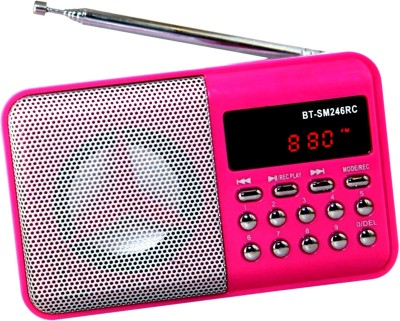 OYD New Digital BT246 FM Radio Support recording , usb pendrive, aux in FM Radio(Pink)  available at flipkart for Rs.999