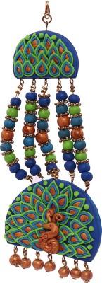BellaYou handmade polymer clay peacock design jhumar/passa for beautiful brides Hair Accessory Set(Blue, Green, Brown)