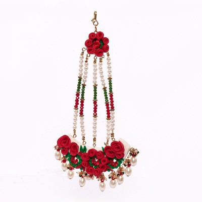 BellaYou HANDMADE POLRMERCLAY BRIDAL RED ROSE JHUMAR/PASSA Hair Accessory Set(Red, White, Green)