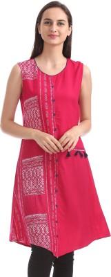 Karigari Women Printed Asymmetric Kurta(Pink)