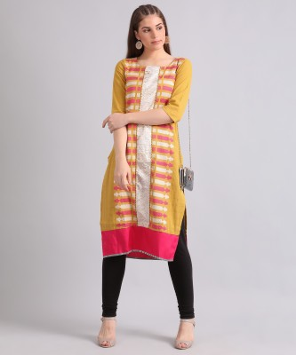 W Women Self Design Straight Kurta(Multicolor)