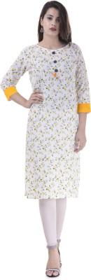 FASHION CLOUD Wedding Abstract, Block Print, Floral Print, Geometric Print, Graphic, Polka Print, Printed Women Kurti(Yellow) Flipkart
