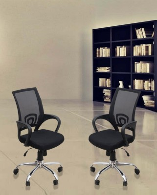 DZYN Furnitures Linen Office Executive Chair(Black, Set of 2)