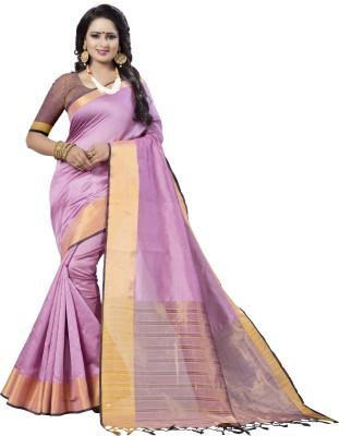 Trendz Style Striped Fashion Tussar Silk, Cotton Silk Saree Pink