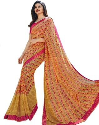 Bombey Velvat Fab Printed Daily Wear Georgette, Chiffon, Synthetic Chiffon Saree(Yellow, Pink) Flipkart