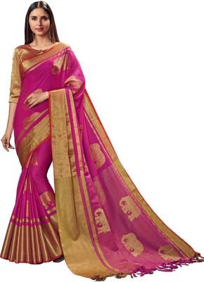 SP AURA Solid Fashion Handloom Polycotton Saree(Pink)