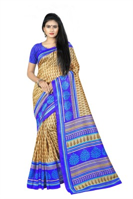 Kara Printed Bhagalpuri Cotton, Cotton Silk, Cotton Linen Blend, Silk Cotton Blend Saree(Beige)