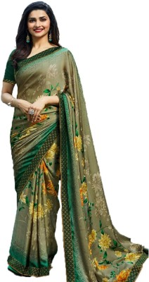 Bombey Velvat Fab Printed Daily Wear Georgette, Chiffon, Synthetic Chiffon Saree(Green, Yellow) Flipkart