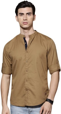 Roadster Men Solid Casual Khaki Shirt Roadster Casual Shirts