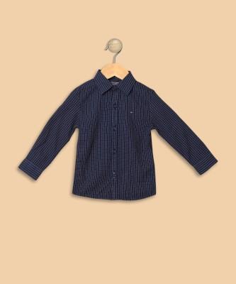 Tommy Hilfiger Boys Checkered Casual Dark Blue Shirt