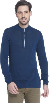 Jack & Jones Solid V-neck Casual Men Blue Sweater at flipkart