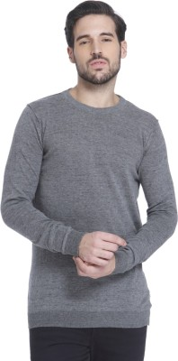 Jack & Jones Solid Crew Neck Casual Men Grey Sweater at flipkart