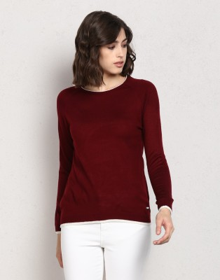 Metronaut Solid Crew Neck Casual Women Maroon Sweater