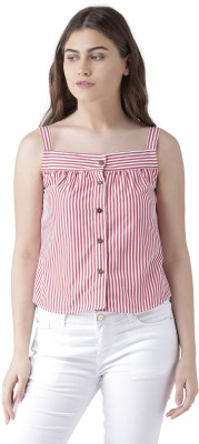 Pinwheel Casual Sleeveless Solid Women Red Top