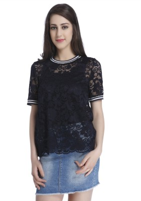 Only Casual Short Sleeve Solid Women Blue Top