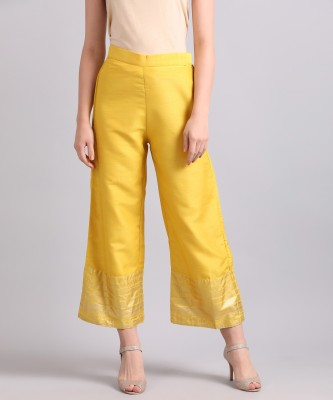 W Regular Fit Women Yellow, Gold Trousers