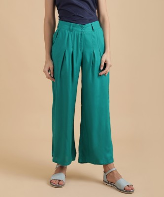 W Regular Fit Women Green Trousers at flipkart