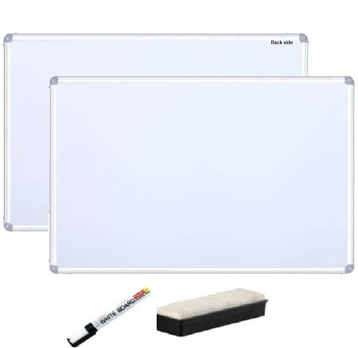 TIYA Non Magnetic Non magnetic Melamine Small Whiteboards and Duster Combos(Set of 1, White)