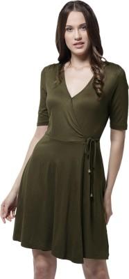 La Zoire Women Wrap Dark Green Dress