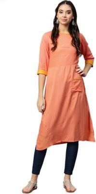 Shree Women Striped, Colorblock Straight Kurta(Orange)