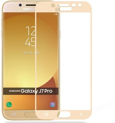 CHVTS Tempered Glass Guard for Samsung Galaxy J7 Pro ,5D Glass, Gold(Pack of 1)