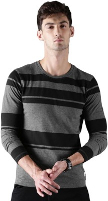 WROGN Broad Stripes Men Round or Crew Black, Grey T-Shirt at flipkart