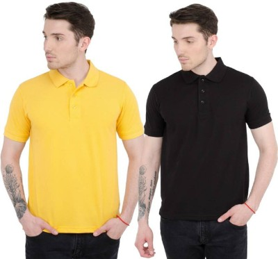 Amitgroup Solid Men Polo Neck Reversible Black, Yellow T-Shirt(Pack of 2)