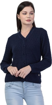 TAB91 Women Button Self Design Cardigan at flipkart