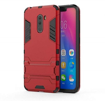 Tarkan Back Cover for Heavy Duty Shockproof Armor Kickstand Back Case Cover For Poco F1 (Red) Xiaomi Pocofone F1(Red, Shock Proof)