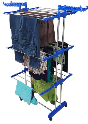 SHP single pole clothes drying stand m.s 3-tier Steel Floor Cloth Dryer Stand(Blue)