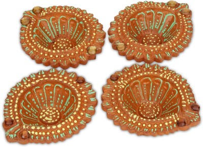 SkyAsia Terracotta (Pack of 4) Table Diya Set(Height: 3.7 inch) at flipkart