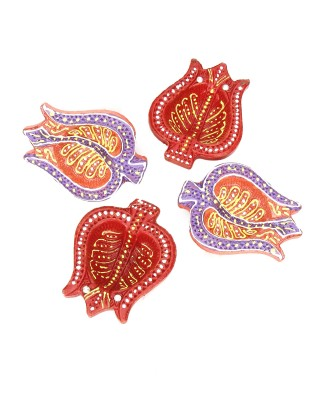 SkyAsia Terracotta (Pack of 4) Table Diya Set(Height: 1 inch) at flipkart