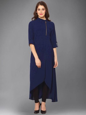 Divastri Women Solid A-line Kurta(Dark Blue)