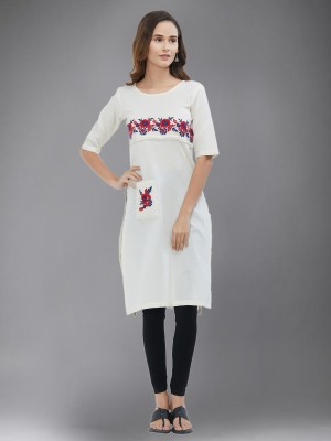 Divastri Women Floral Print Straight Kurta(White)